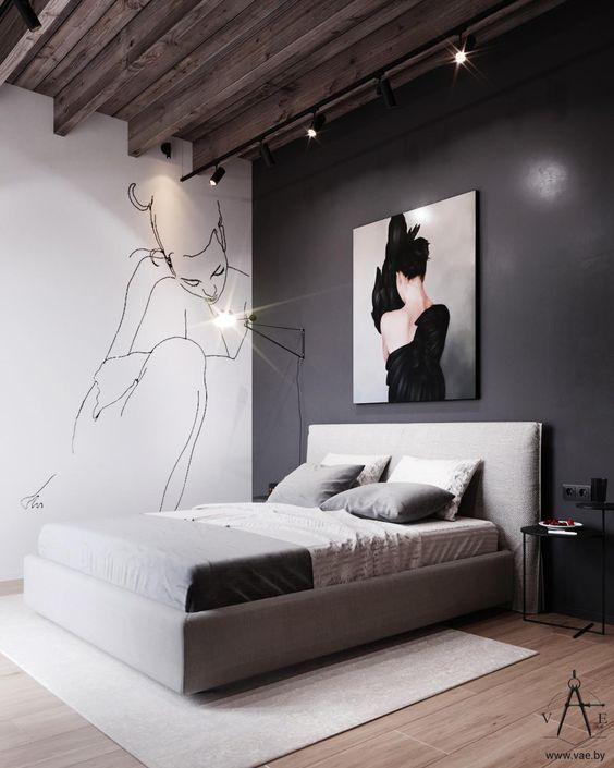 romantic monochrome bedroom