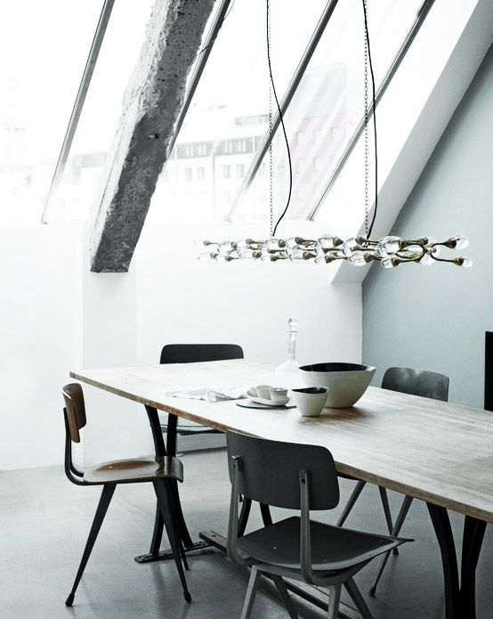 skylight window monochrome dining room
