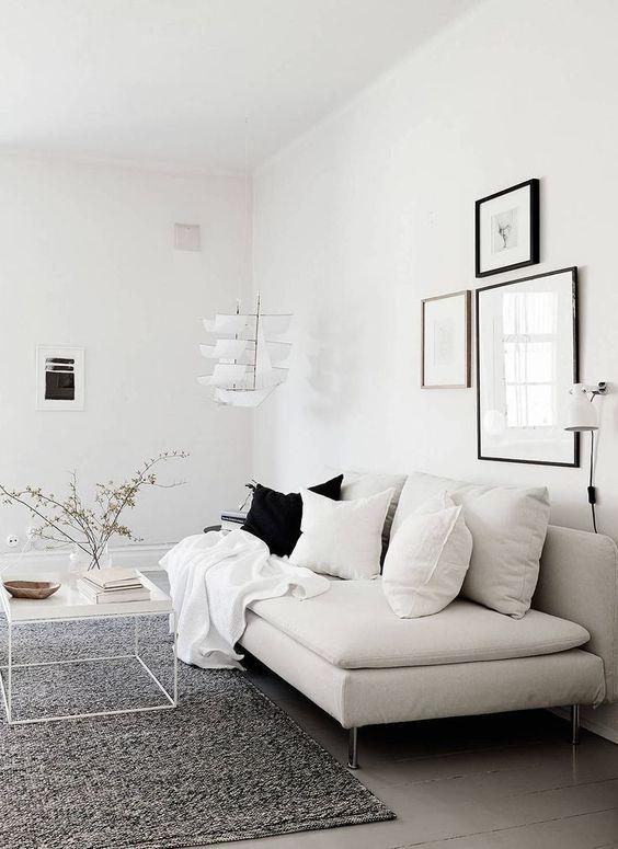 comfortable monochrome small living room