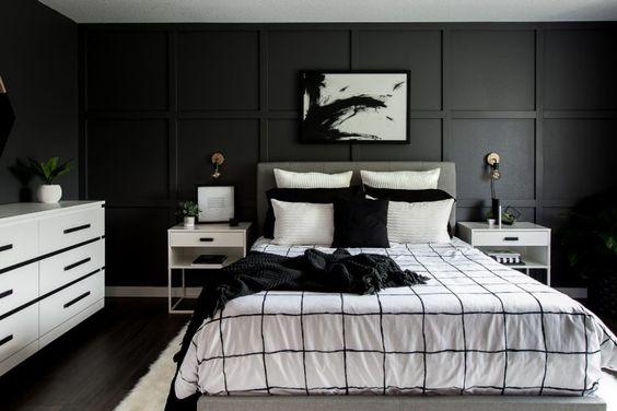 monochrome bedroom wall