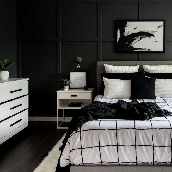black monochrome bedroom