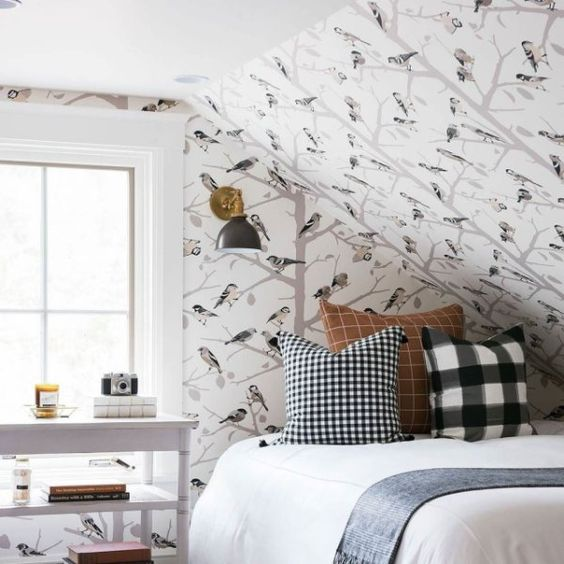 beautiful wallpaper for attic bedroom