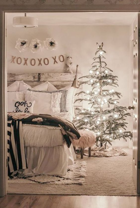 christmas tree bedroom decor