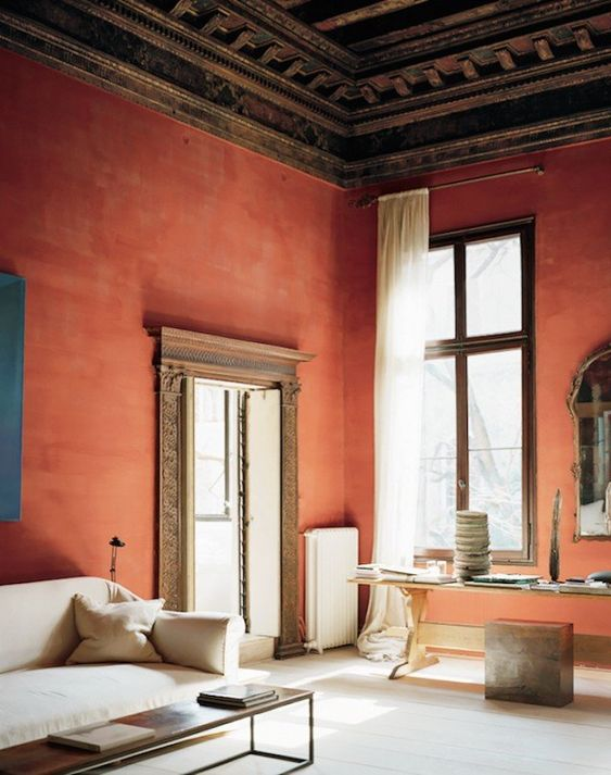 orange italian living room