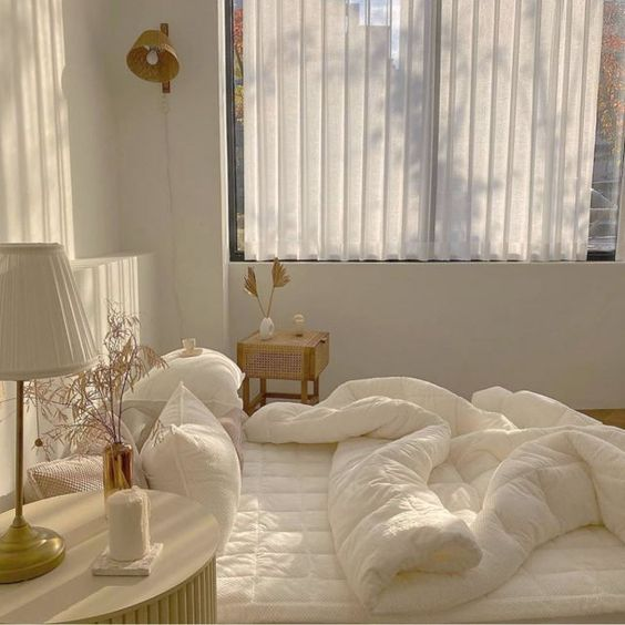 white korean bedroom