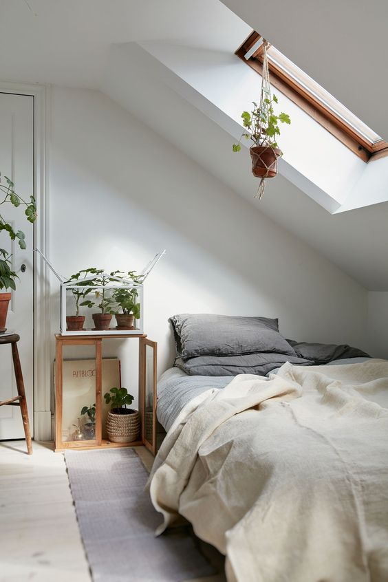 natural shades attic bedroom