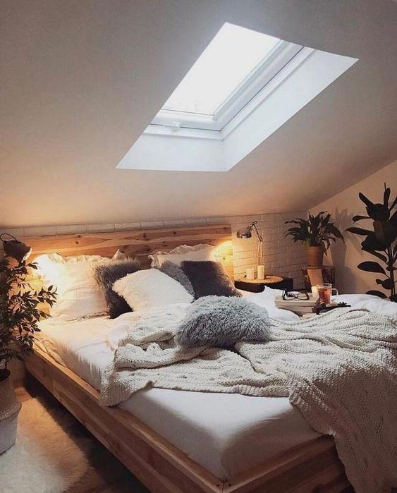 fresh attic bedroom