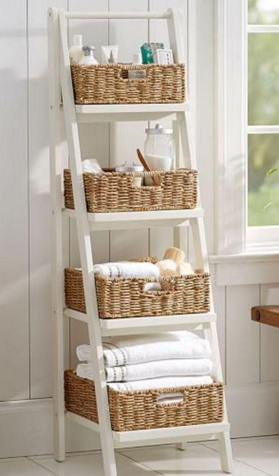 bathroom ladder shelf decor