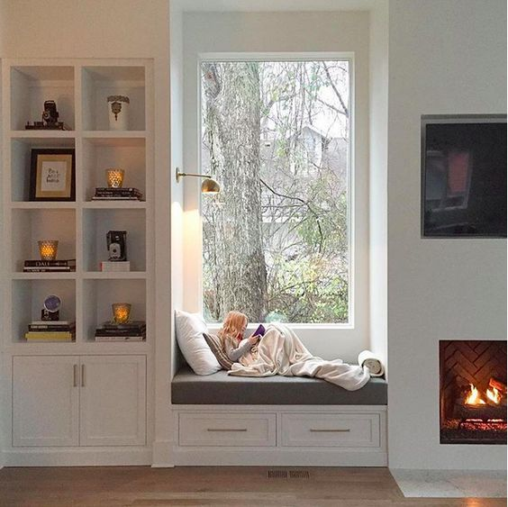 cozy bay window seat for winter