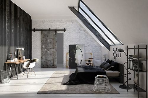 monochrome attic bedroom