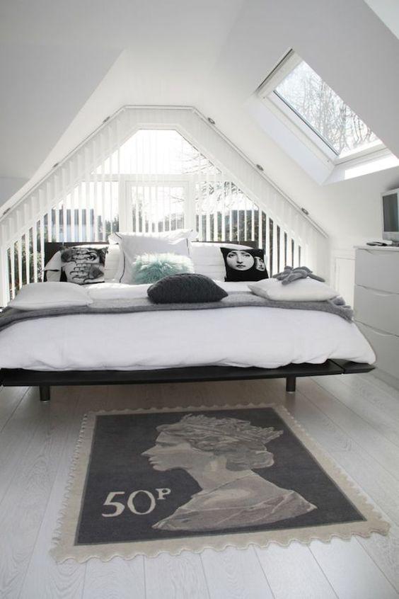 comfortable monochrome attic bedroom