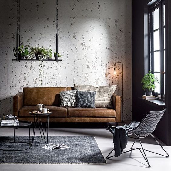 comfortable industrial living room
