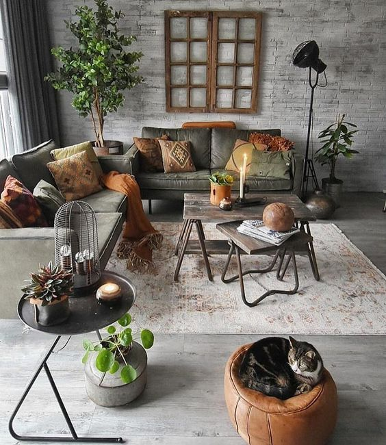 green industrial living room