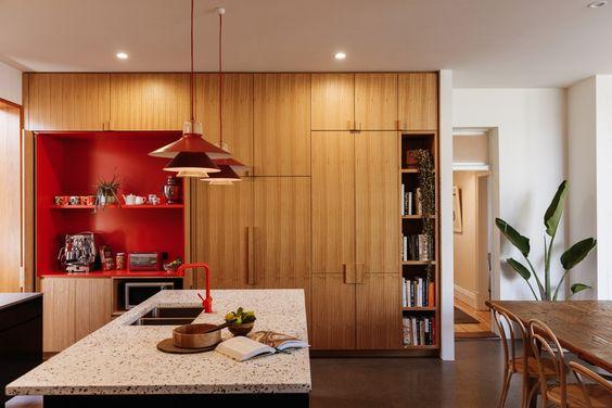 calm red kitchen