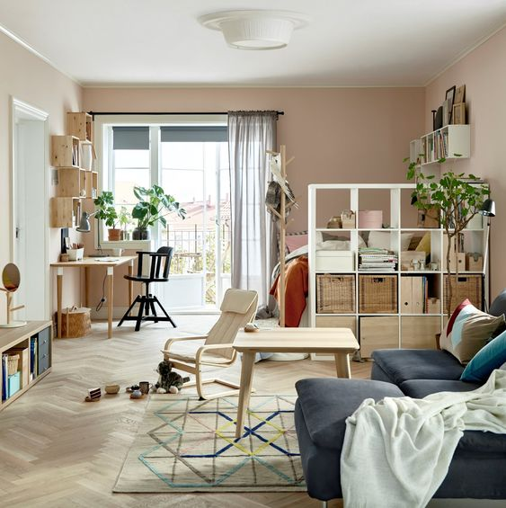 step bookcase as a room divider