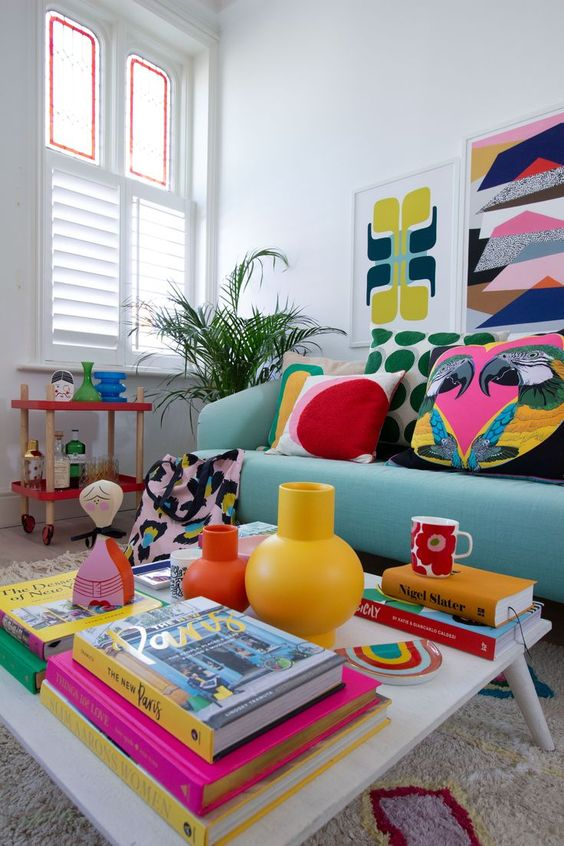 cheerful retro living room