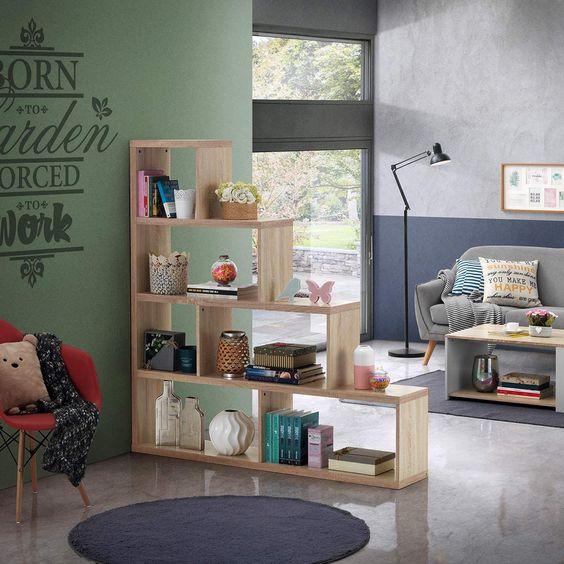 step bookcase room divider