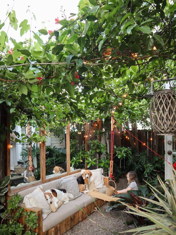 small garden with mirror decor