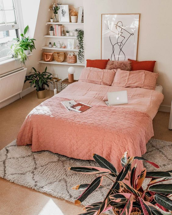 peach spring bedroom