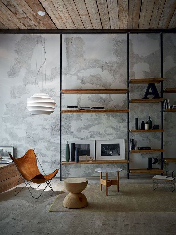 concrete wall industrial living room