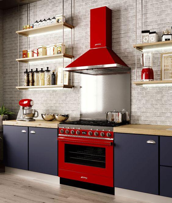 attractive kitchen red decor