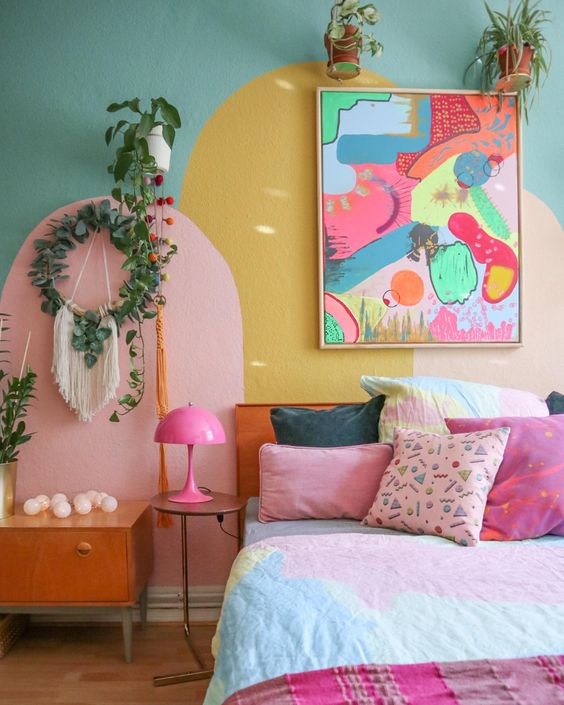 pink retro bedroom
