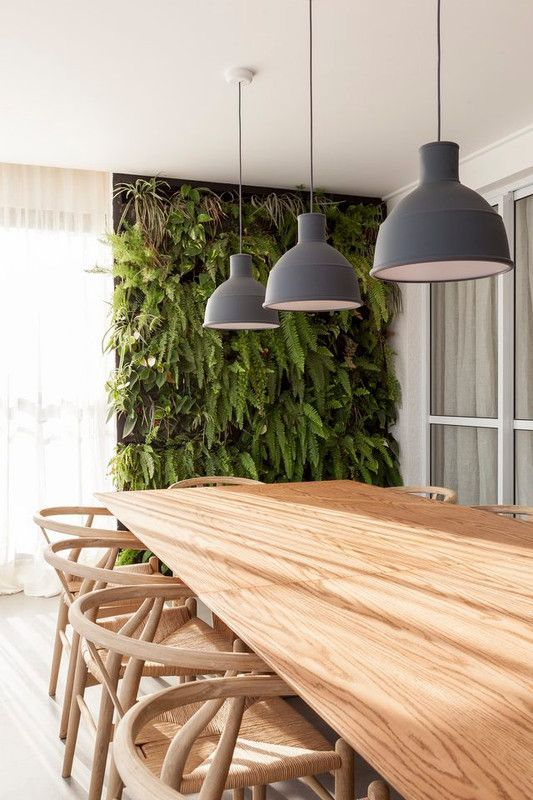 dining room with vertical garden