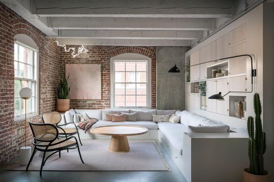 exposed brick wall industrial living room