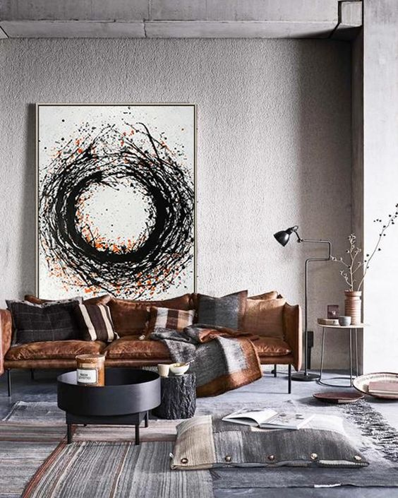 industrial living room art wall