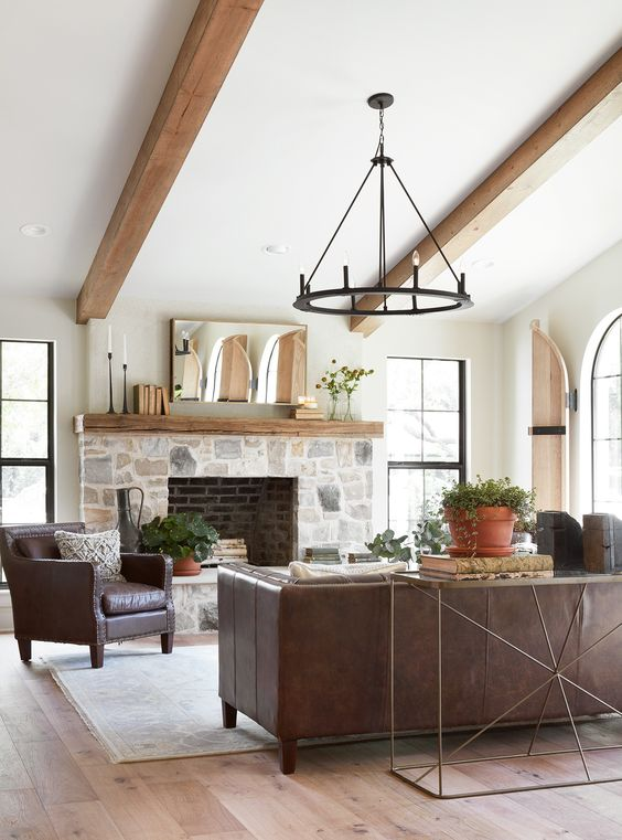 rustic small family room