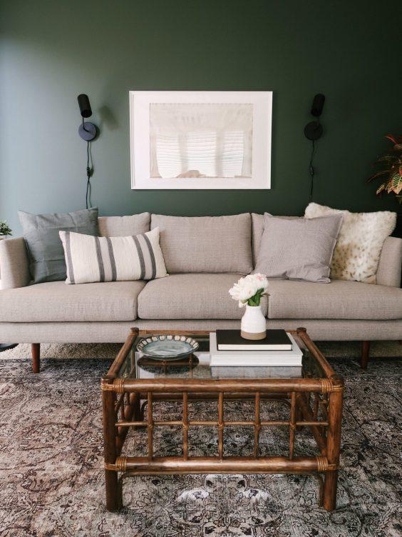 bold green living room
