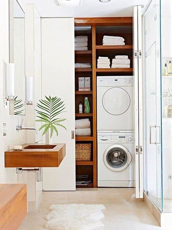 laundry room in closet ideas