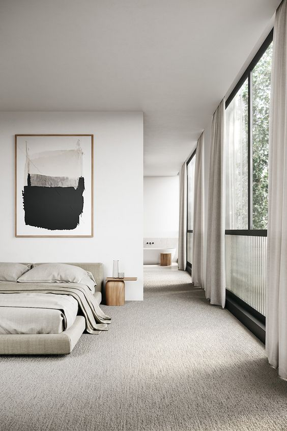 minimalist bedroom bright concept