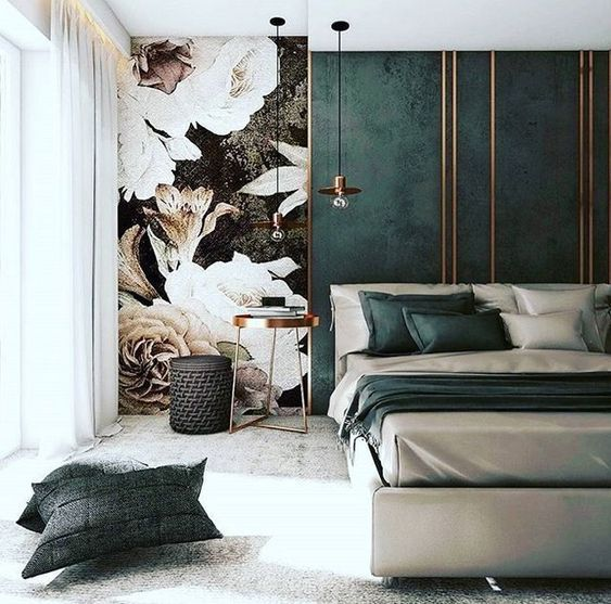 wall mural minimalist bedroom