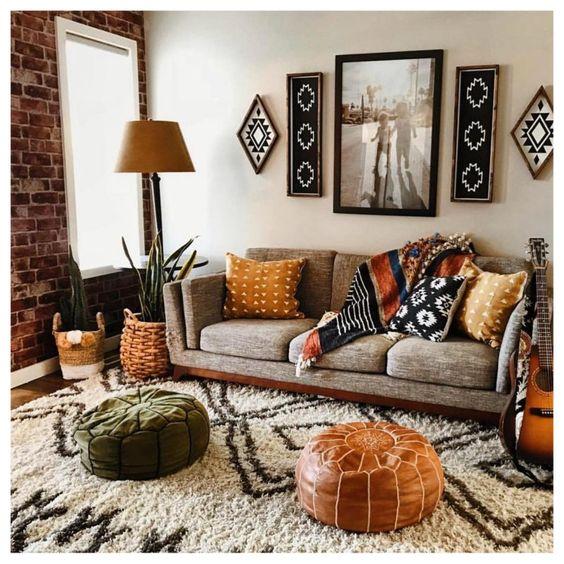 bohemian family room decor